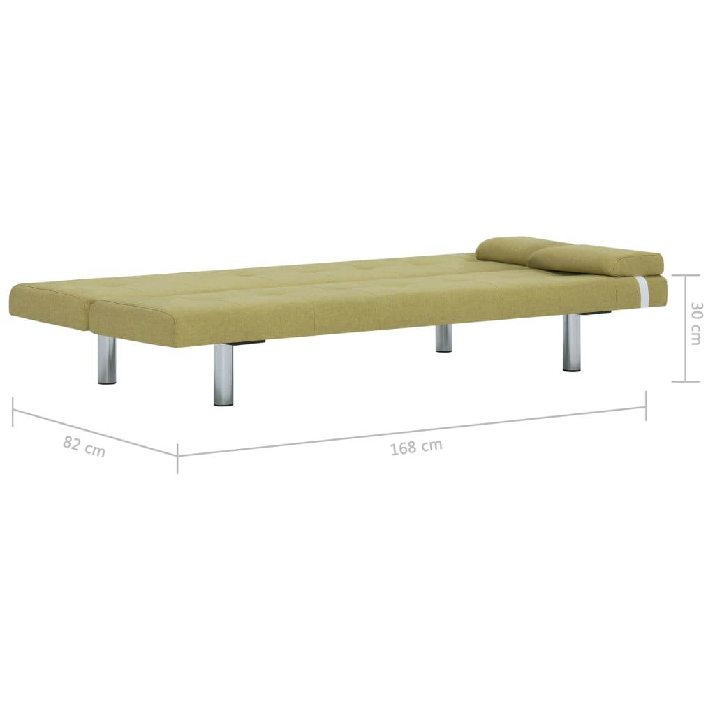 Sofa Bed with Two Pillows Green Polyester 11