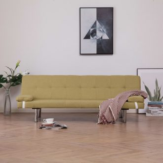 Sofa Bed with Two Pillows Green Polyester