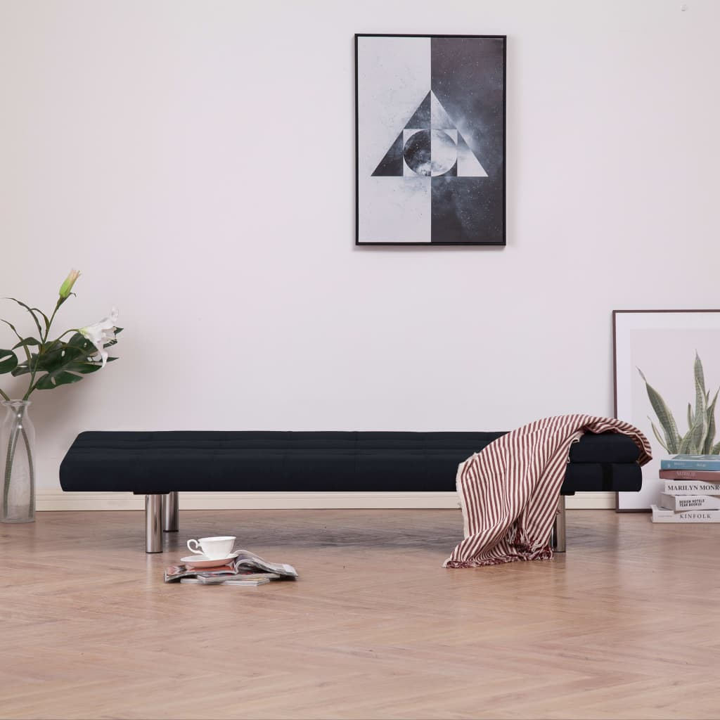 Sofa Bed with Two Pillows Black Polyester 3