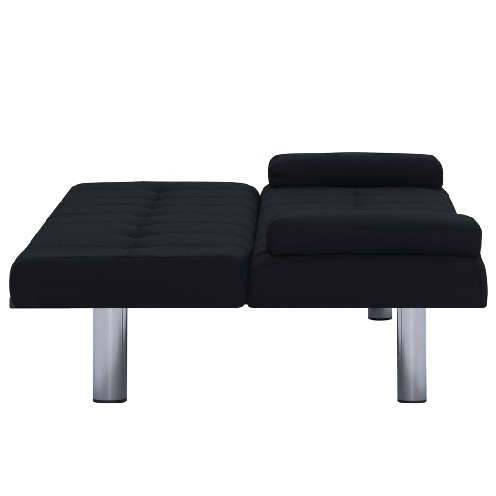 Sofa Bed with Two Pillows Black Polyester 9