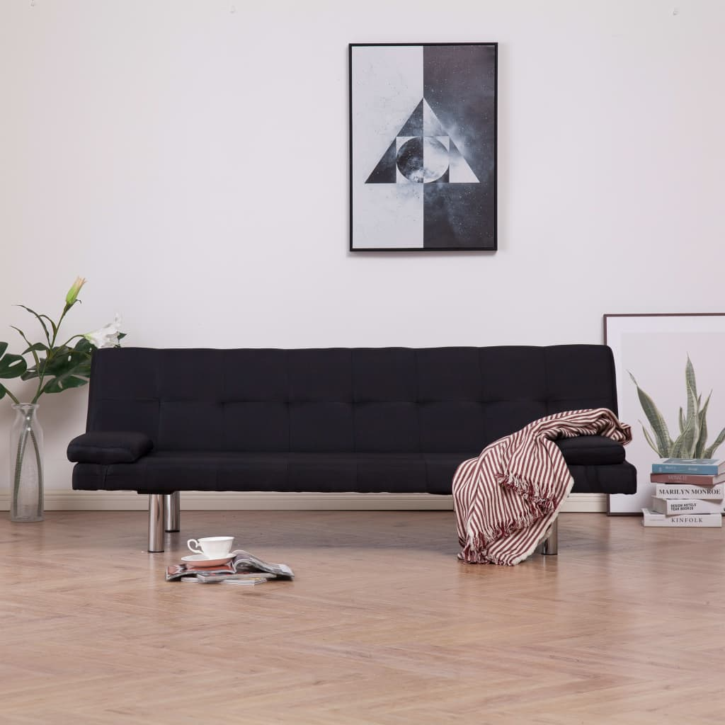 Sofa Bed with Two Pillows Black Polyester