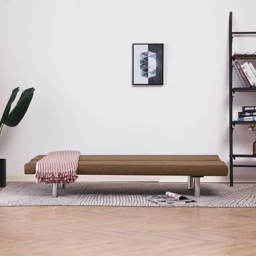 Sofa Bed Brown Polyester 3