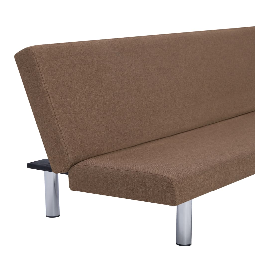 Sofa Bed Brown Polyester 8