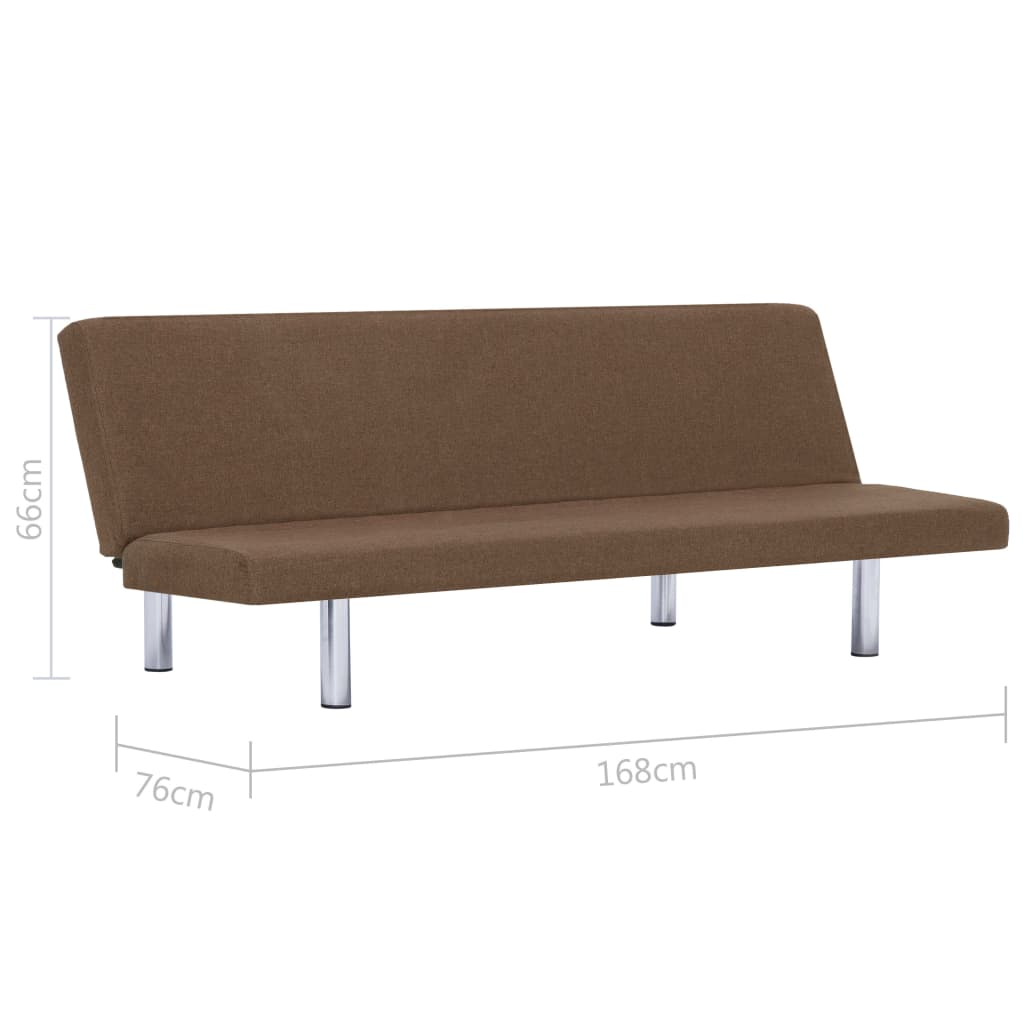 Sofa Bed Brown Polyester 10
