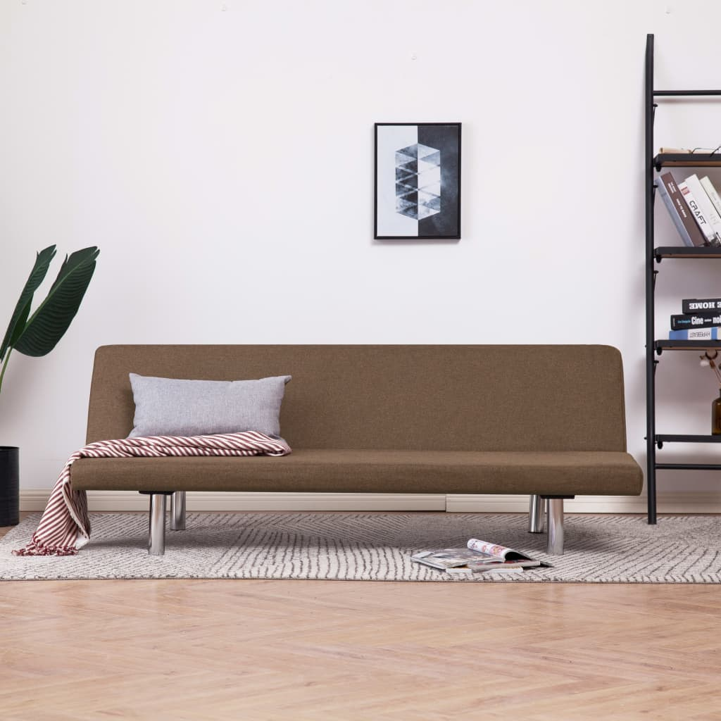Sofa Bed Brown Polyester 1