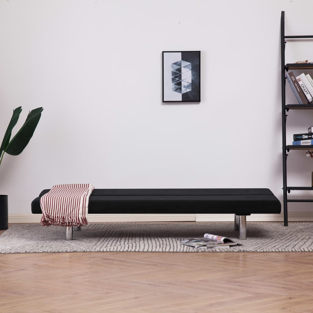 Sofa Bed Black Polyester 3