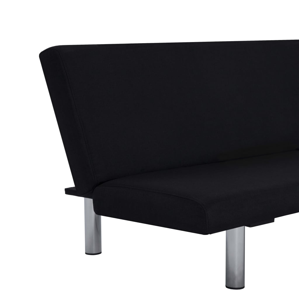 Sofa Bed Black Polyester 8