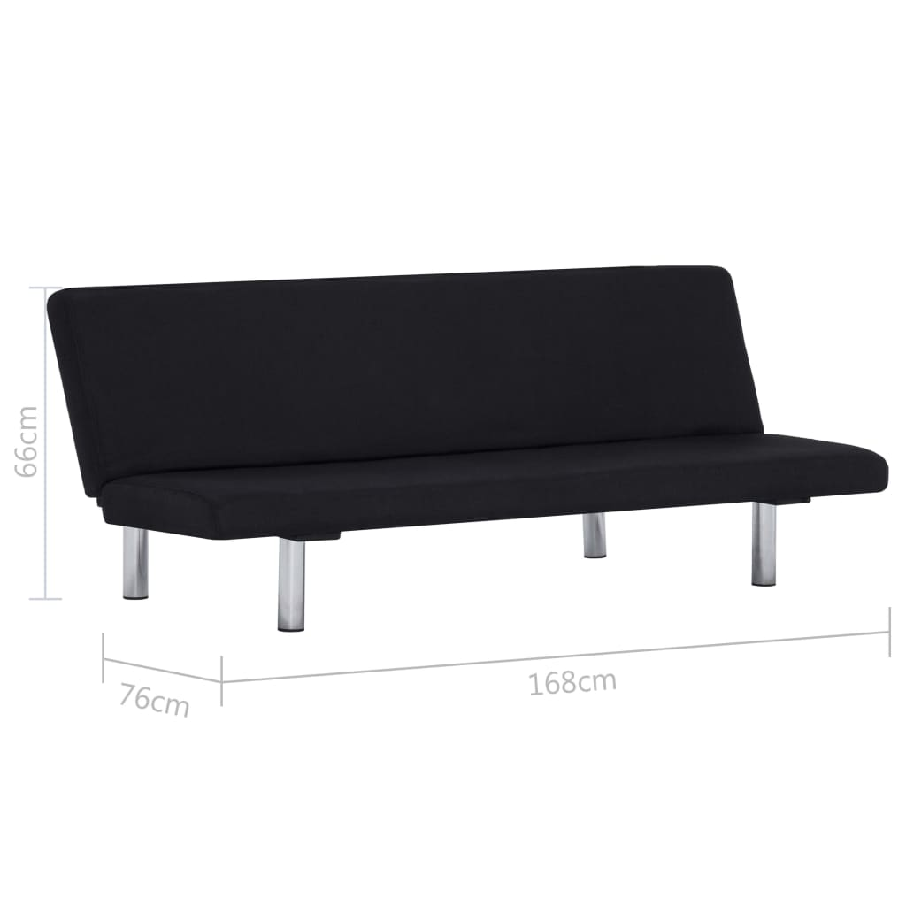 Sofa Bed Black Polyester 10