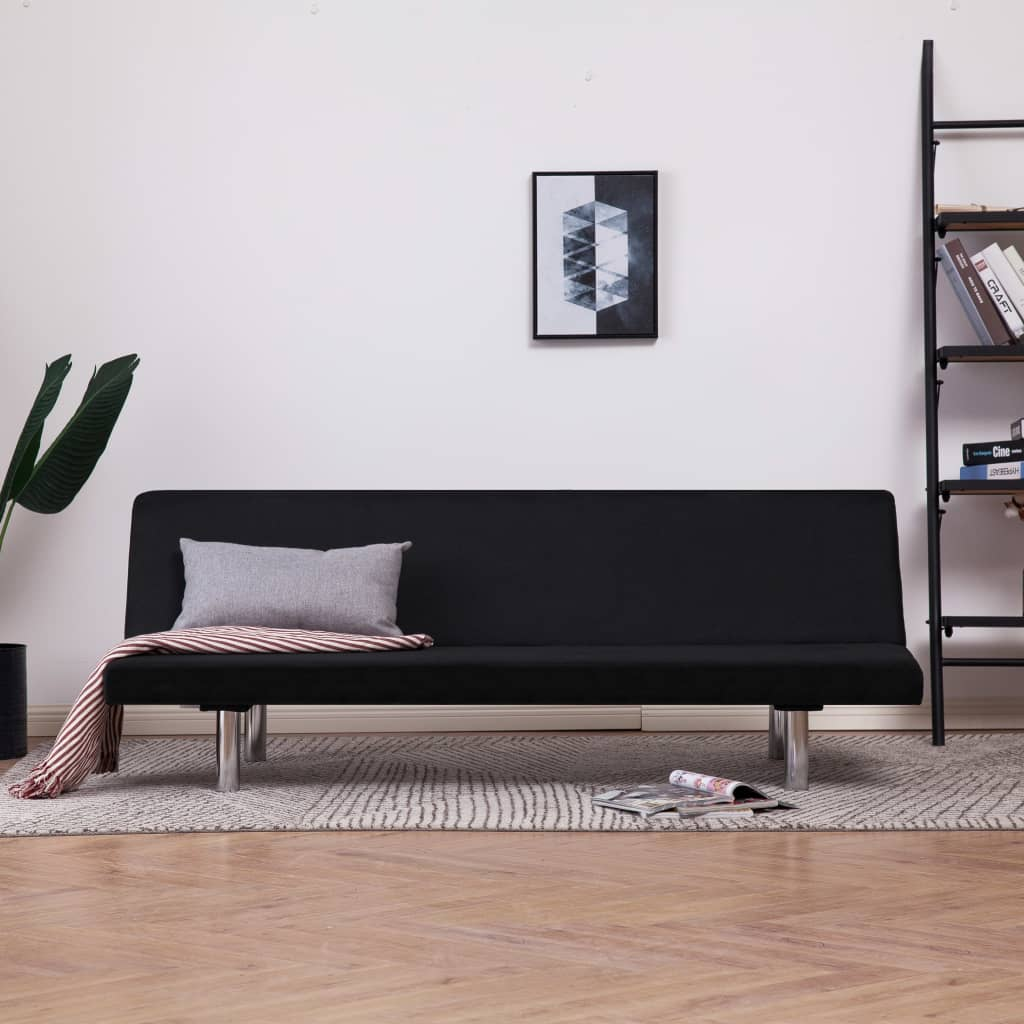Sofa Bed Black Polyester