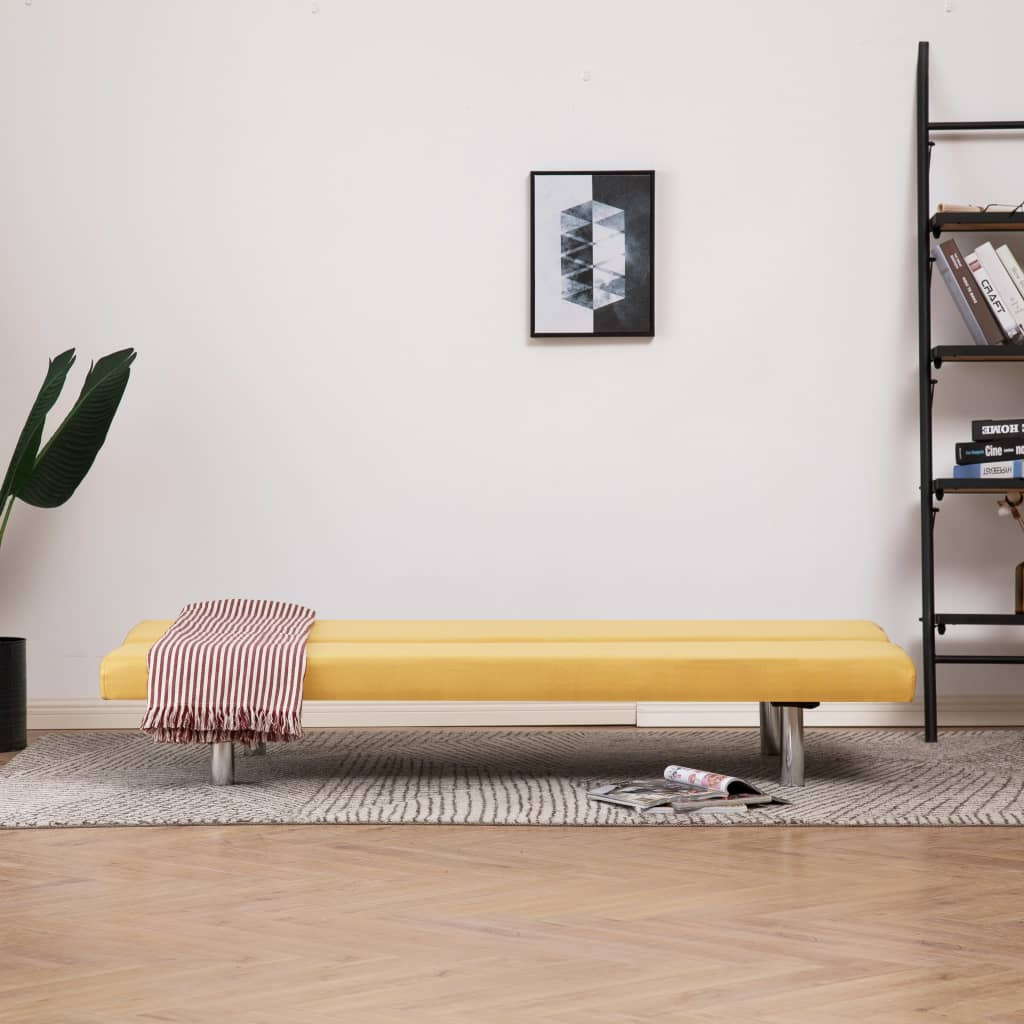Sofa Bed Yellow Polyester 3