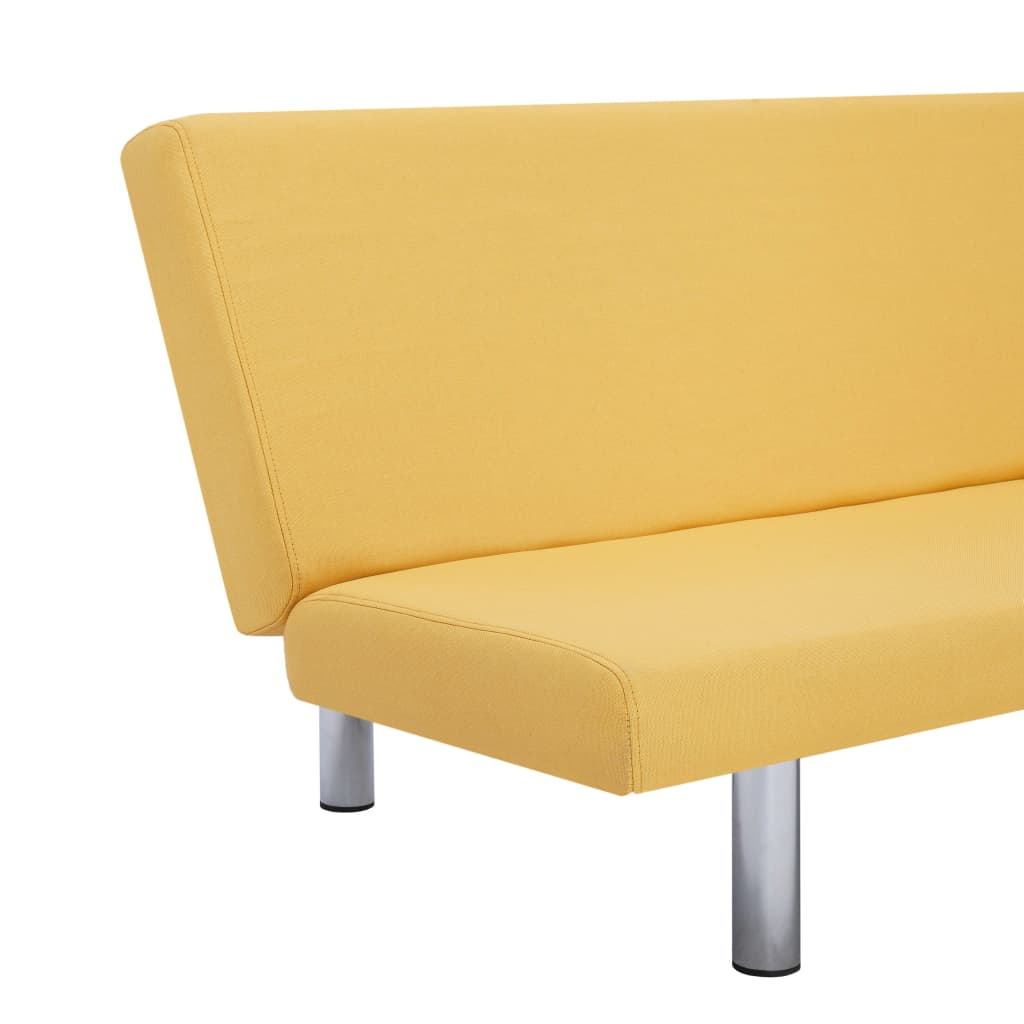 Sofa Bed Yellow Polyester 8