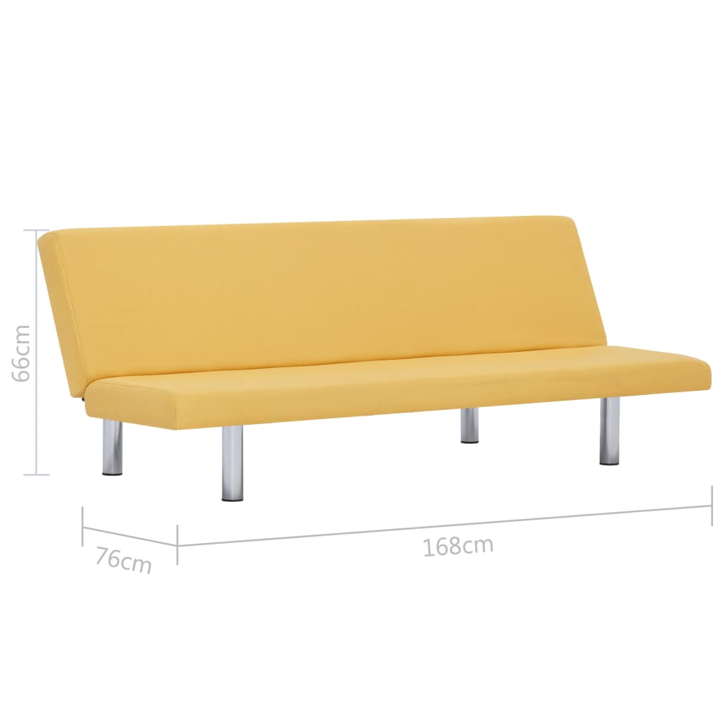 Sofa Bed Yellow Polyester 10