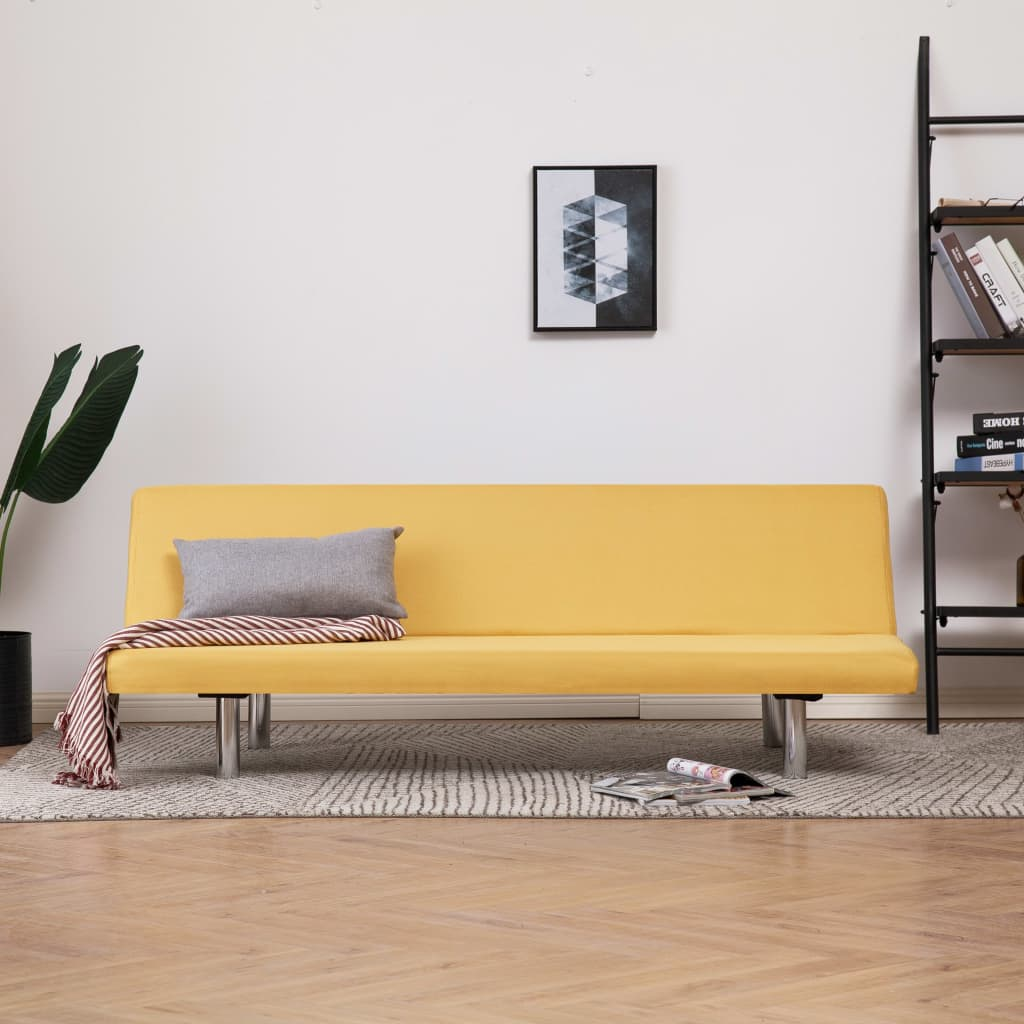 Sofa Bed Yellow Polyester 1