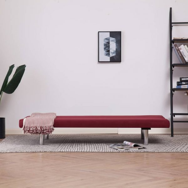 Sofa Bed Wine Red Polyester 3