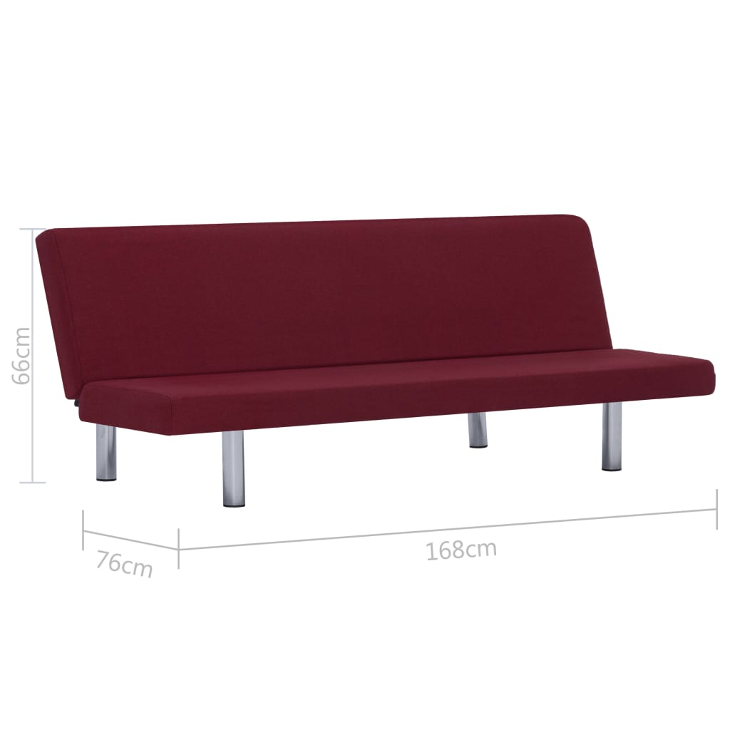 Sofa Bed Wine Red Polyester 10