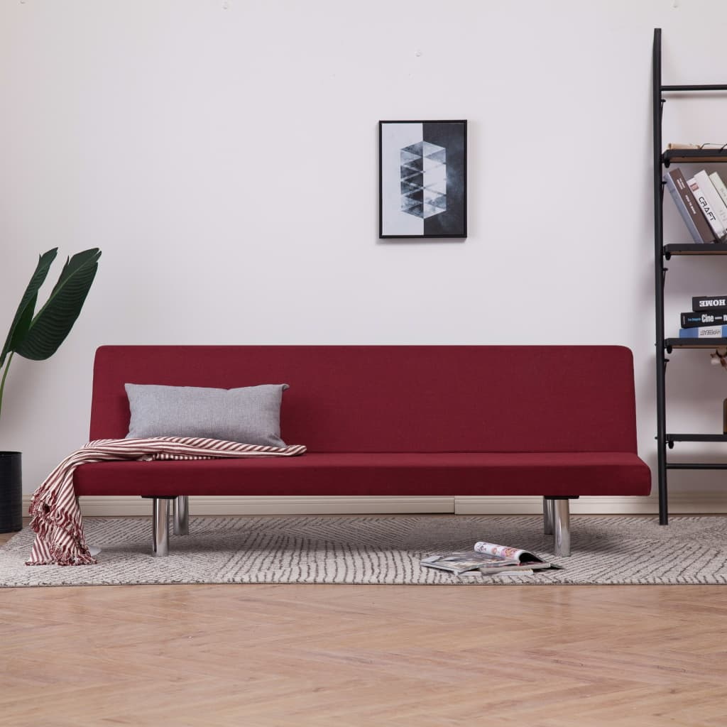Sofa Bed Wine Red Polyester