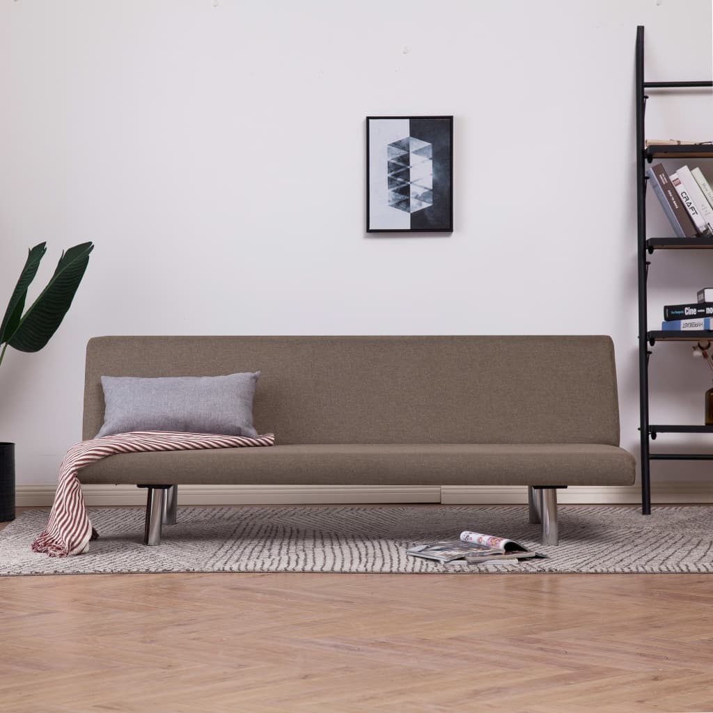 Sofa Bed Taupe Polyester