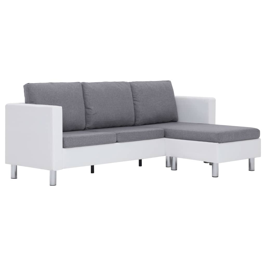 3-Seater Sofa with Cushions White Faux Leather 2