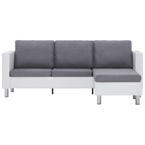3-Seater Sofa with Cushions White Faux Leather 5