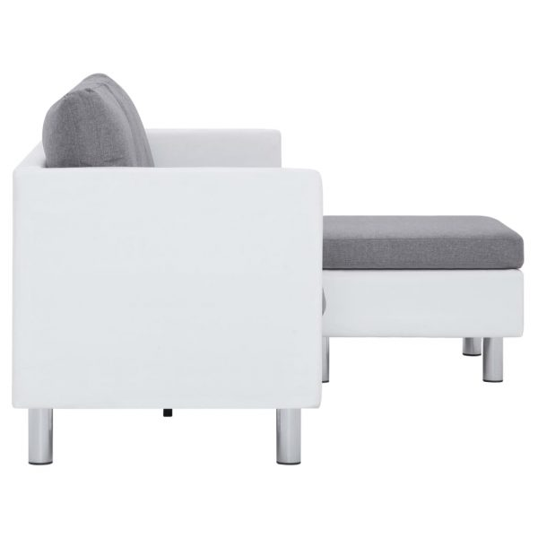 3-Seater Sofa with Cushions White Faux Leather 6
