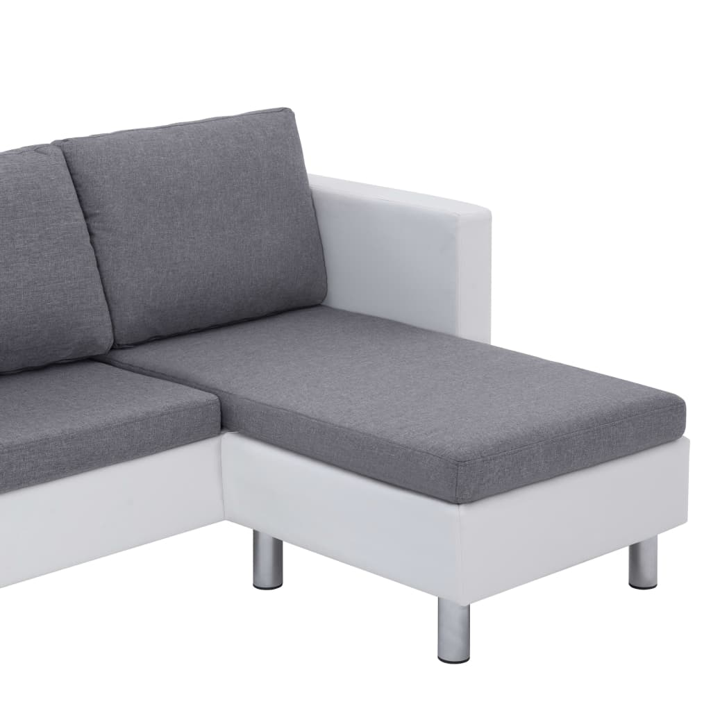 3-Seater Sofa with Cushions White Faux Leather 8