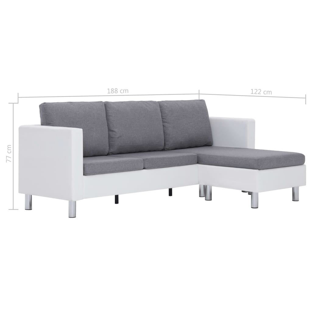 3-Seater Sofa with Cushions White Faux Leather 9