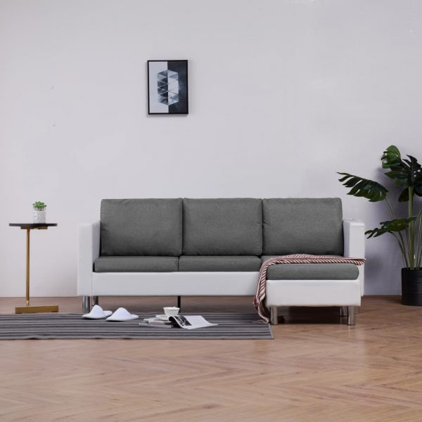 3-Seater Sofa with Cushions White Faux Leather 1