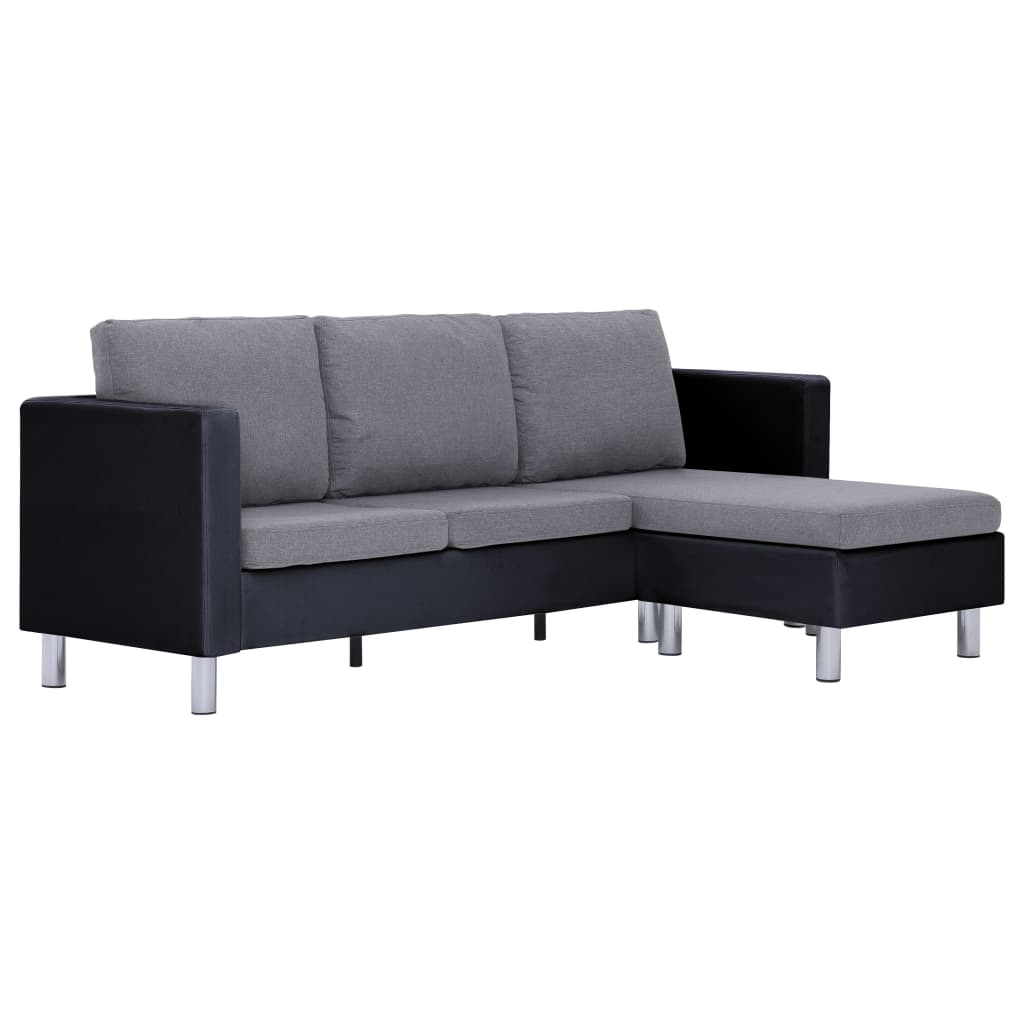 3-Seater Sofa with Cushions Black Faux Leather 2