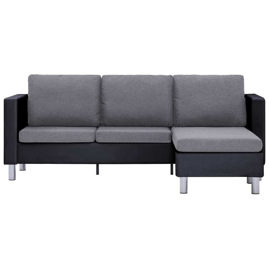 3-Seater Sofa with Cushions Black Faux Leather 5