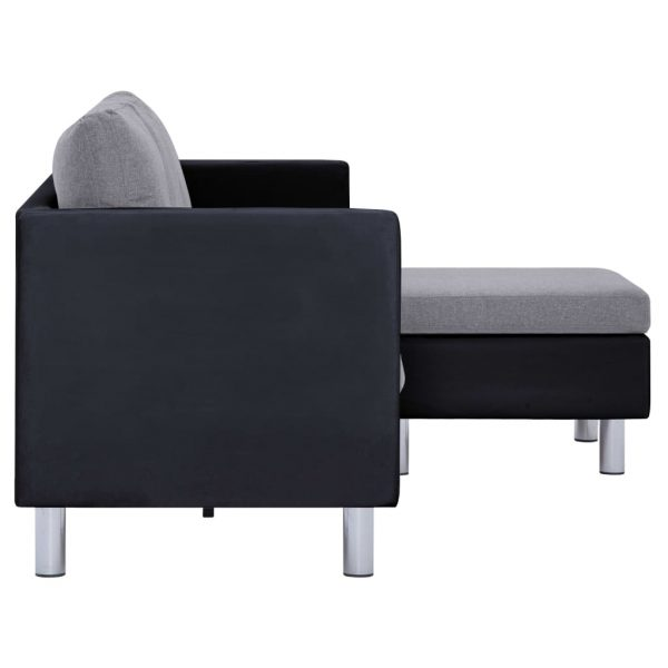 3-Seater Sofa with Cushions Black Faux Leather 6