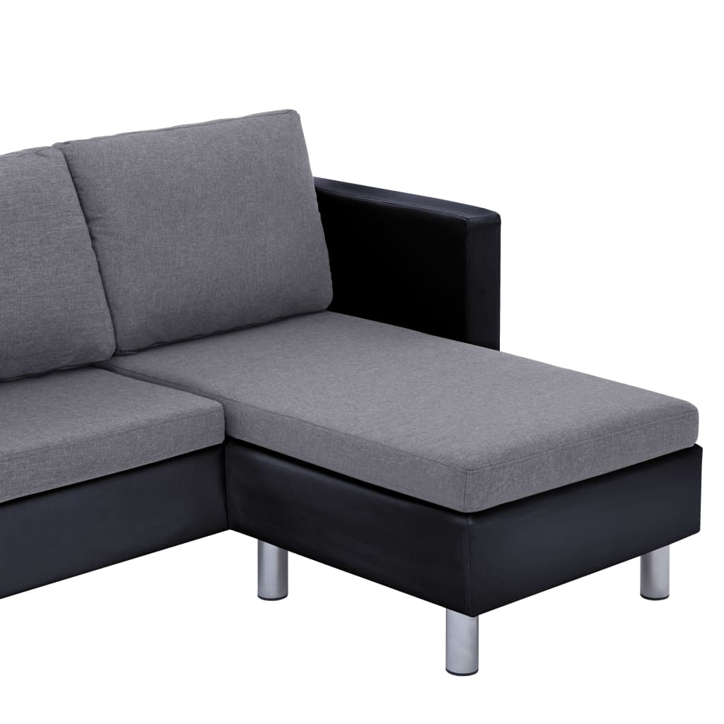 3-Seater Sofa with Cushions Black Faux Leather 8