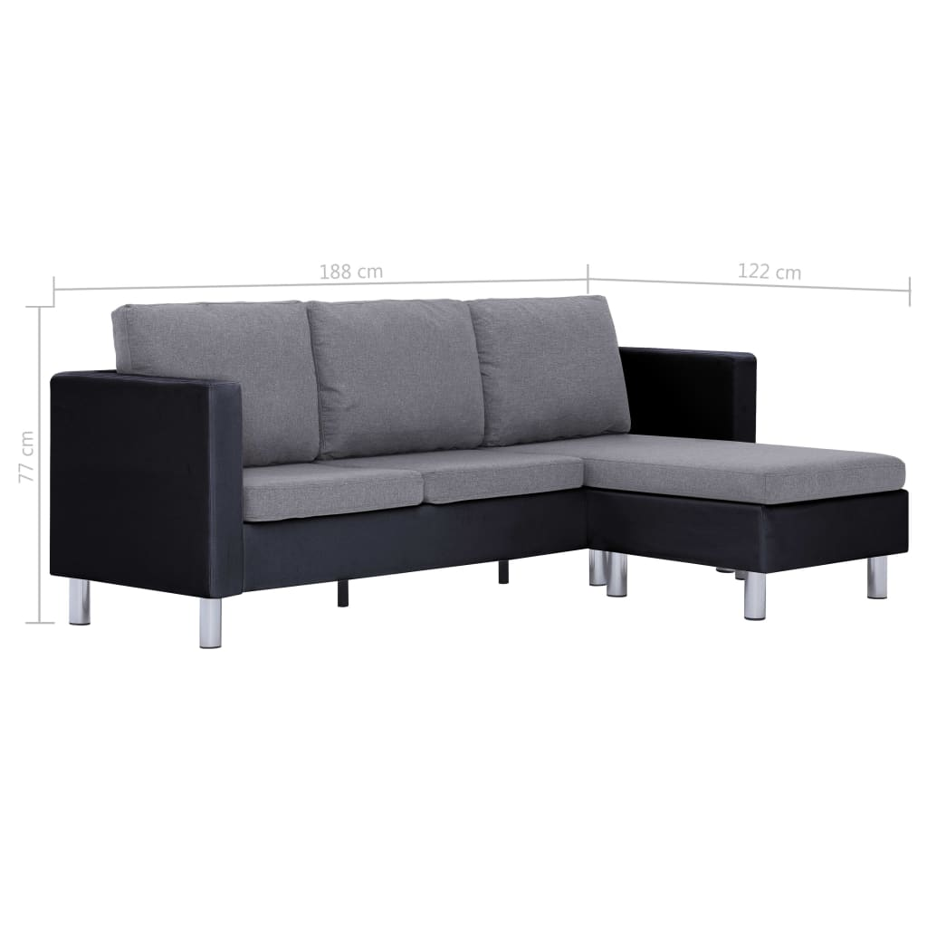 3-Seater Sofa with Cushions Black Faux Leather 9