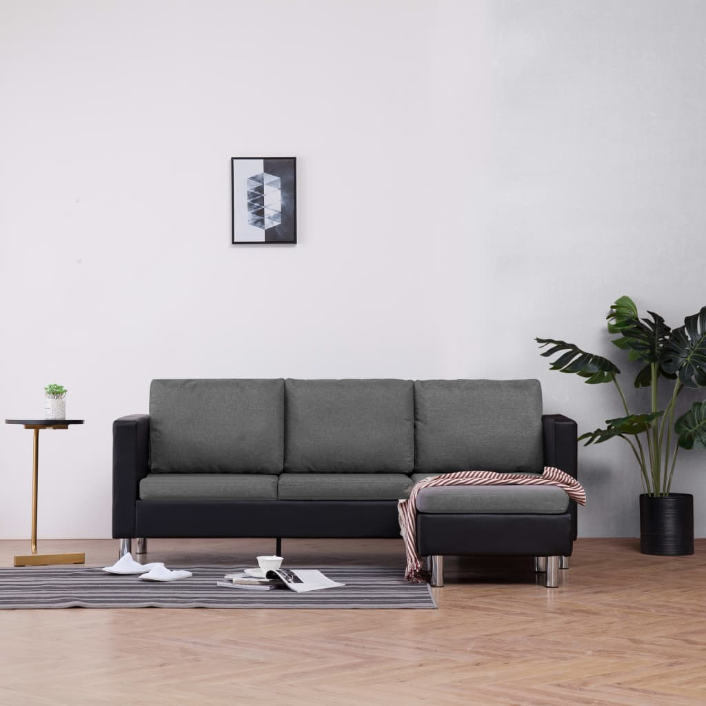 3-Seater Sofa with Cushions Black Faux Leather 1