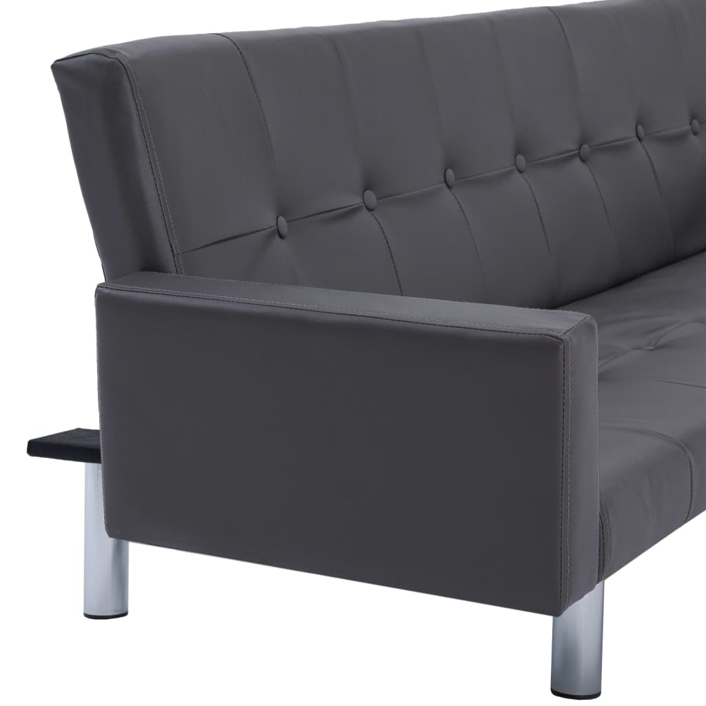 Sofa Bed with Armrest Grey Faux Leather 9