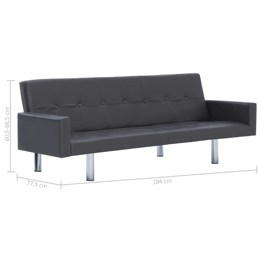 Sofa Bed with Armrest Grey Faux Leather 10