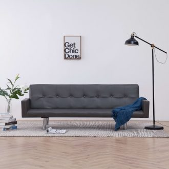 Sofa Bed with Armrest Grey Faux Leather