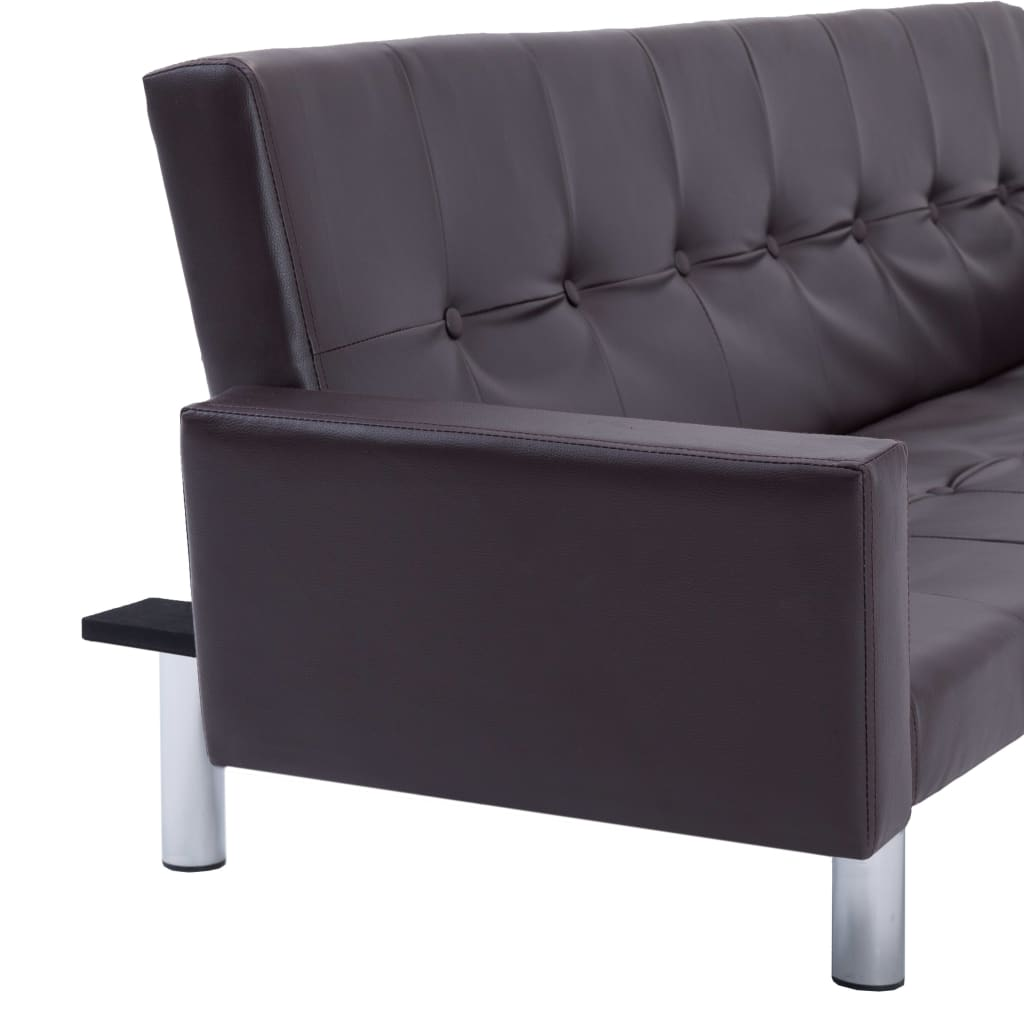 Sofa Bed with Armrest Brown Faux Leather 9