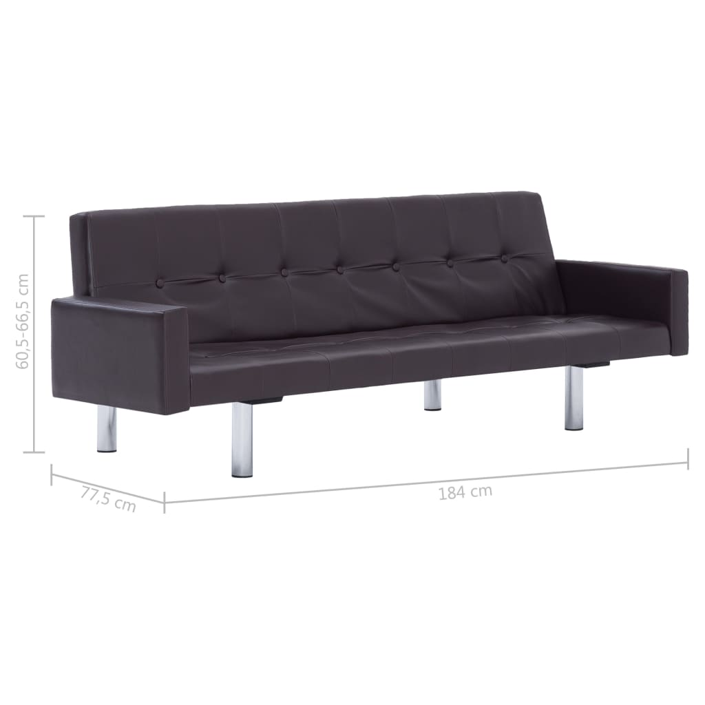 Sofa Bed with Armrest Brown Faux Leather 10