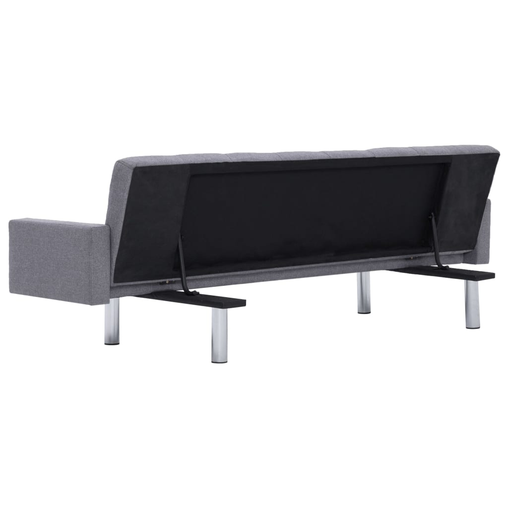 Sofa Bed with Armrest Light Grey Polyester 6