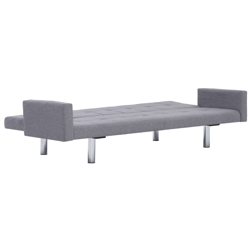 Sofa Bed with Armrest Light Grey Polyester 8