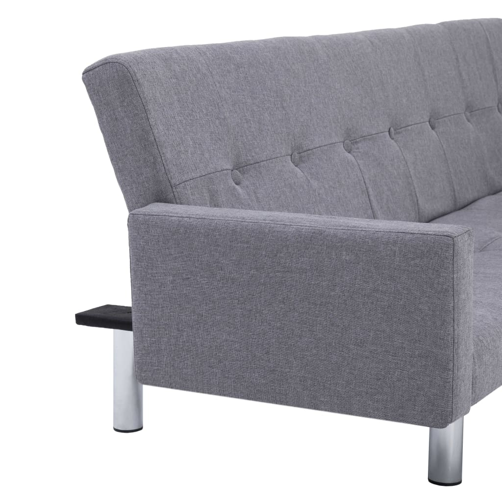 Sofa Bed with Armrest Light Grey Polyester 9