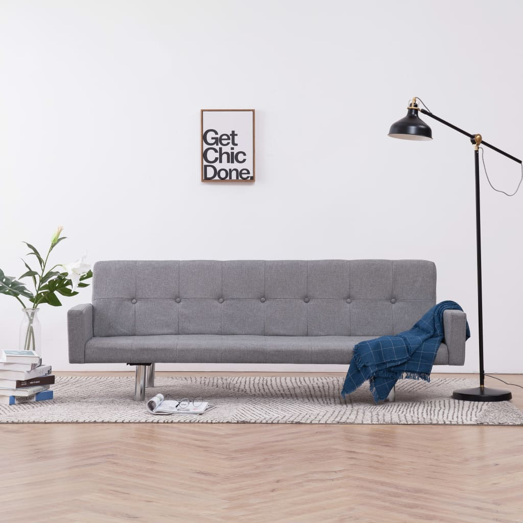 Sofa Bed with Armrest Light Grey Polyester 1