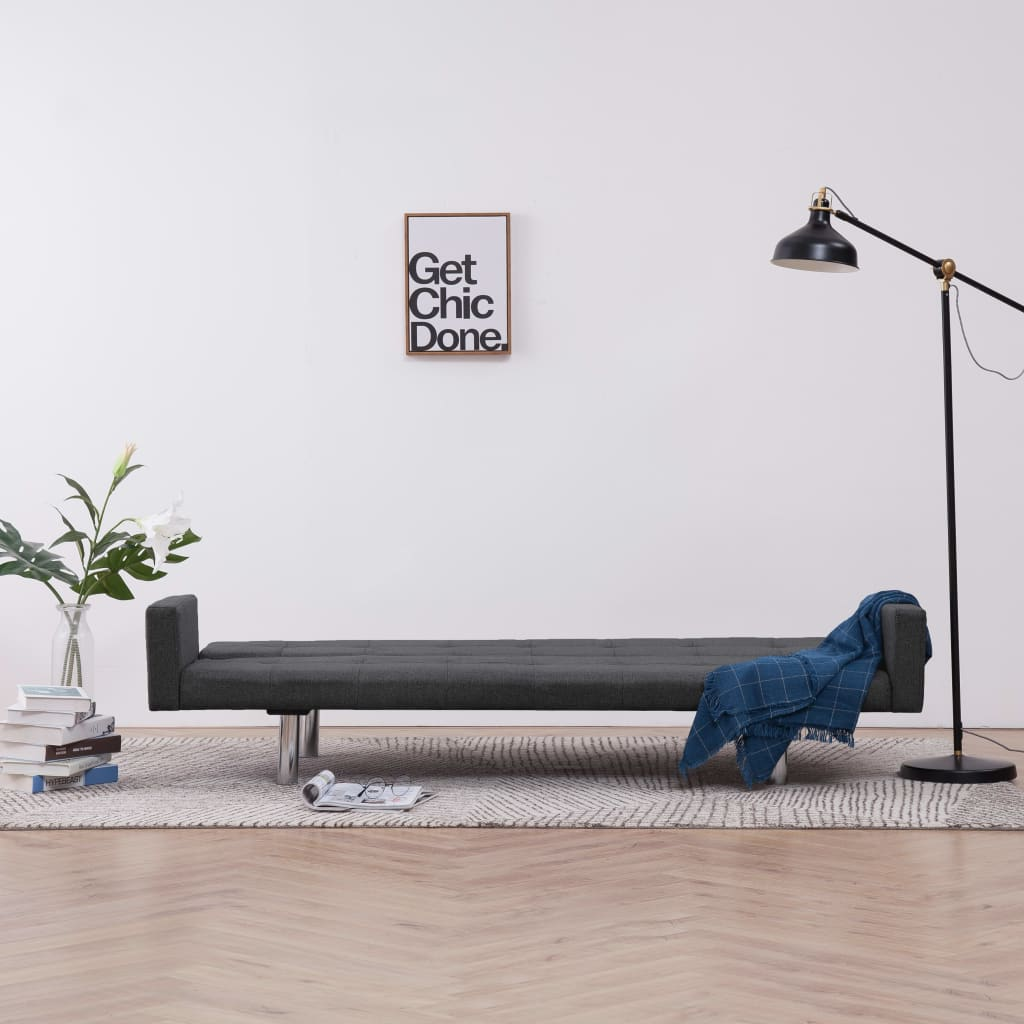 Sofa Bed with Armrest Dark Grey Polyester 3