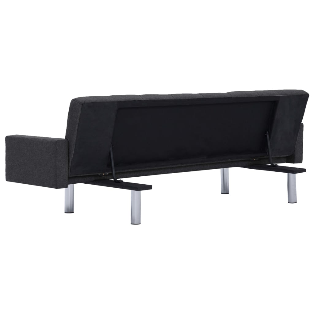 Sofa Bed with Armrest Dark Grey Polyester 6