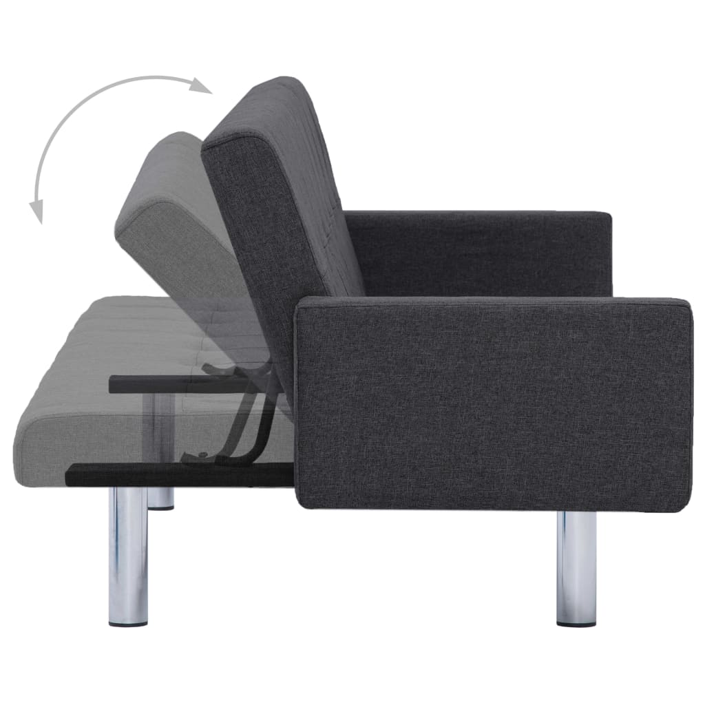 Sofa Bed with Armrest Dark Grey Polyester 7