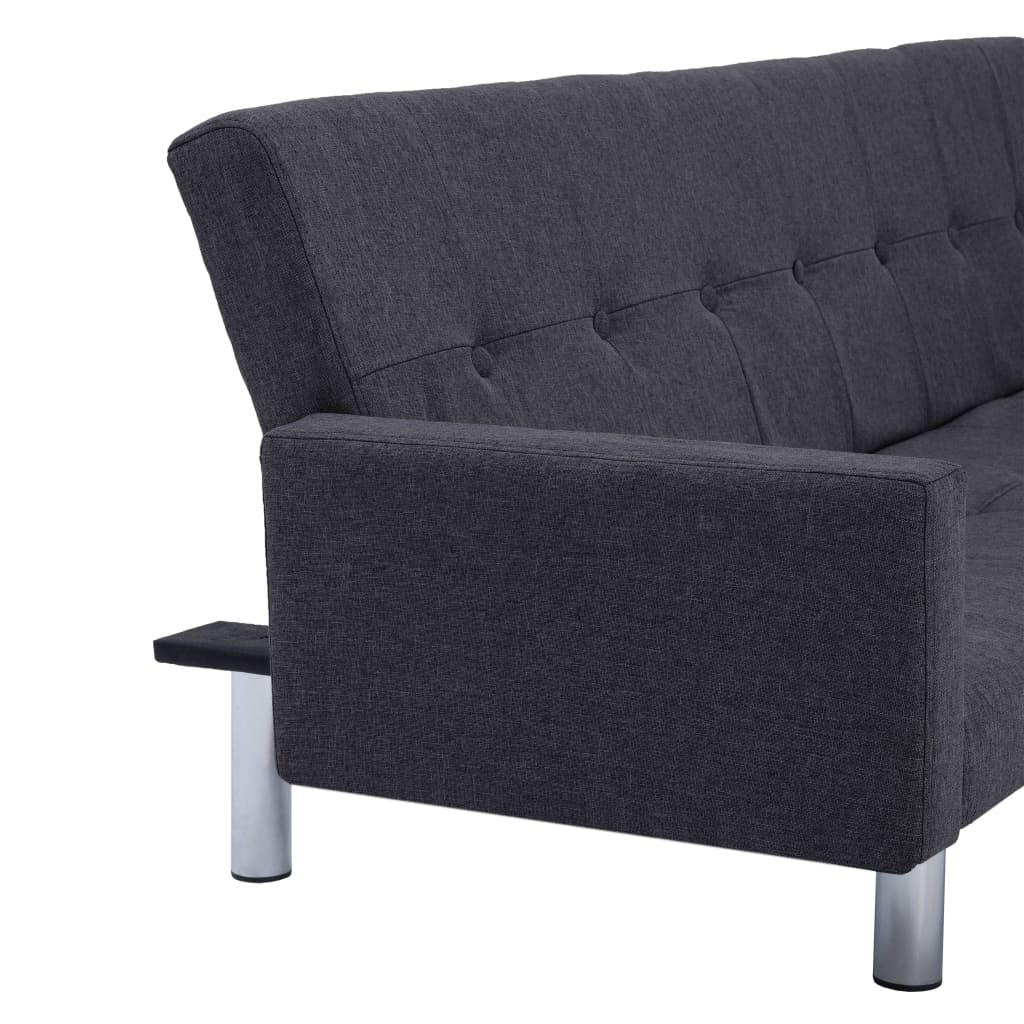 Sofa Bed with Armrest Dark Grey Polyester 9