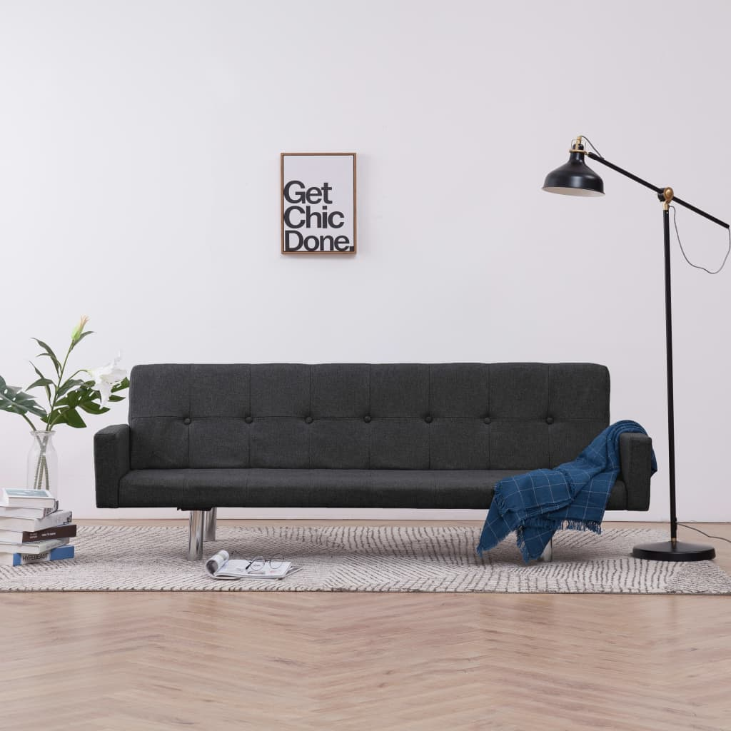Sofa Bed with Armrest Dark Grey Polyester 1