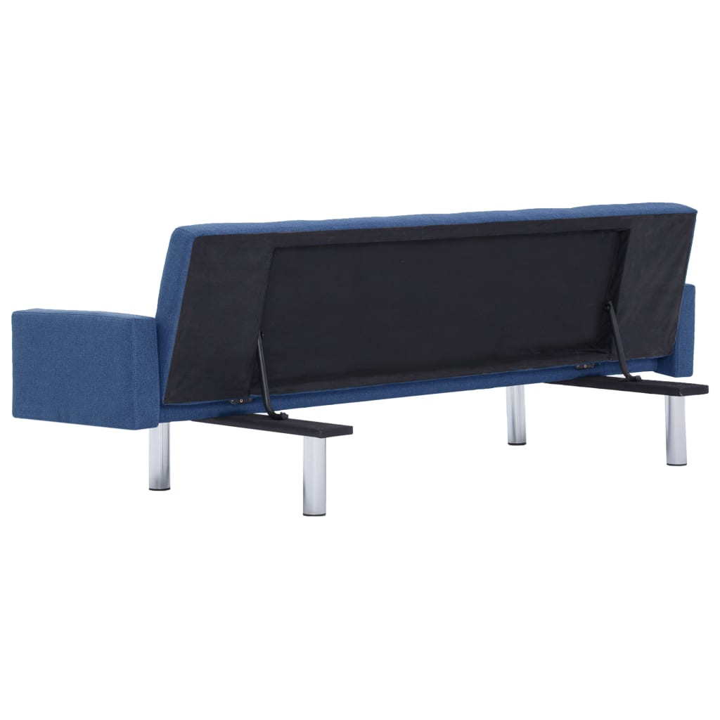 Sofa Bed with Armrest Blue Polyester 6