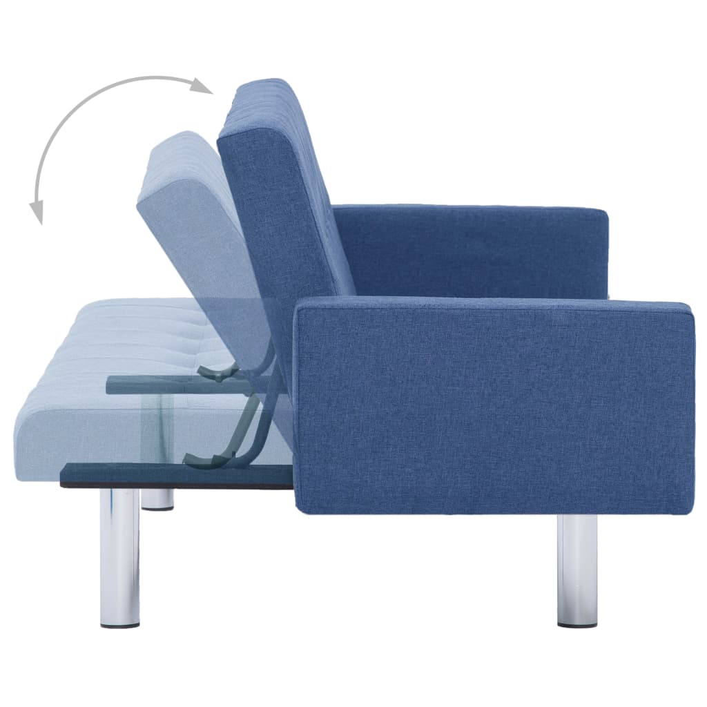 Sofa Bed with Armrest Blue Polyester 7