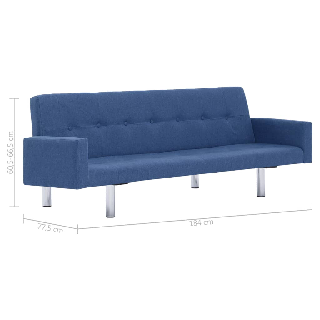 Sofa Bed with Armrest Blue Polyester 10